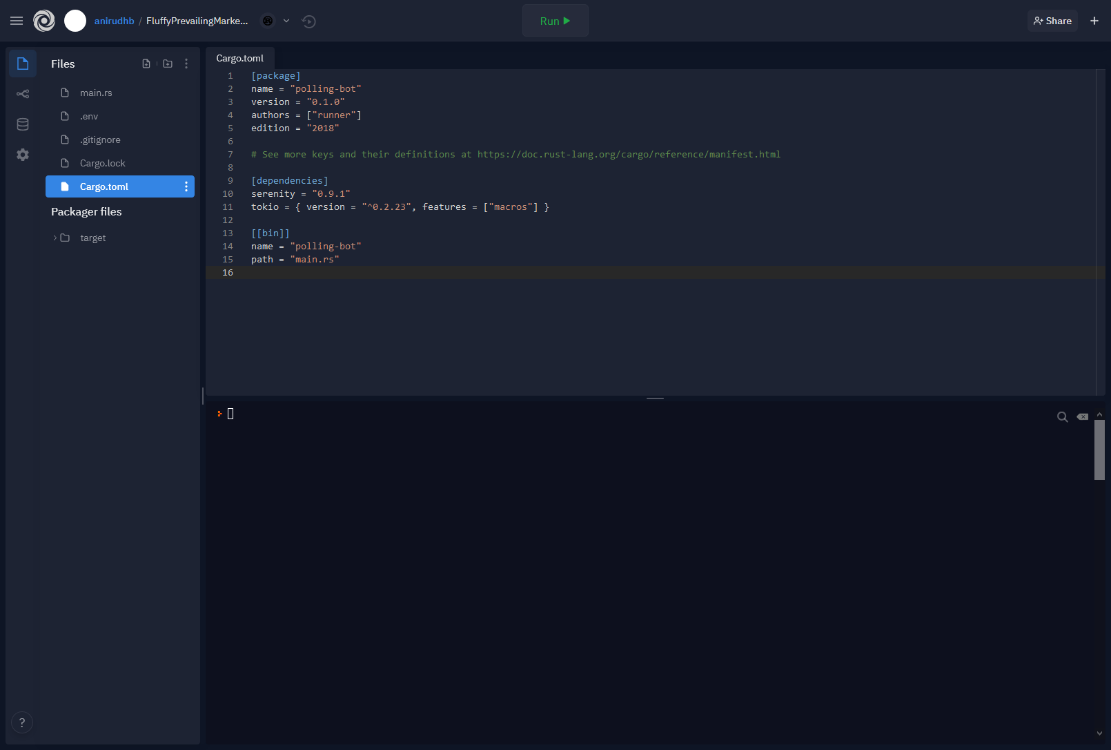 Cargo.toml with Serenity dependency